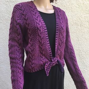 The Territory Ahead purple shrug with tie at waist